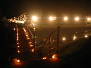 Escale bateau à passagers de la Frette sur Seine la nuit